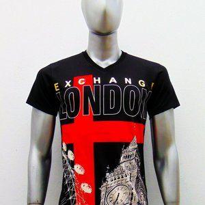 EXCHANGE MEN LONDON ENGLAND BLACK V-NECK T-SHIRT